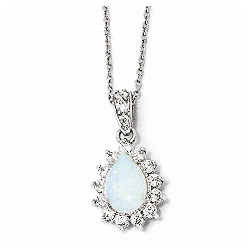 925 Sterling Silver Rhod Plated Cubic Zirconia Cz Created Opal Pear Shaped 18 Inch Chain Necklace Pendant Charm Gemstone Fine Jewelry Gifts For Women For - Opal Bracelet Mexican