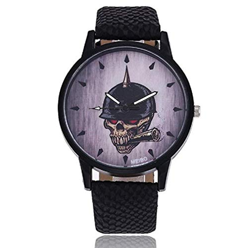 Womens Quartz Watches,Windoson Fashion Metal Retro Round Dial Quartz Analog Alloy Wrist Watch with Leather Band and Skull Printed, Lady Watches Female Watches for Teen Girls (Black) Dial Metal Quartz Watch