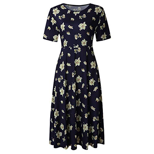 WILLBE Women's Floral Dress Short Sleeve Casual Pockets Midi Dress Summer Loose Beach Cover Up Long Plain Print Dresses -