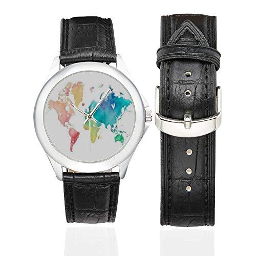 Regalo para Mujeres viajeras Regalo Wanderlust Mapa del Mundo Negro Correa de Cuero Reloj de Viaje Relojes para Mujer Globetrotter Regalo de Viaje: ...