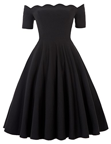 Audrey Hepburn Style Black Swing Dress Off Shoulder Dress (Black, S) - Black 50s Dress
