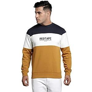 Red Tape Men Full Sleeve Mustard Sweatshirt Cotton Blend