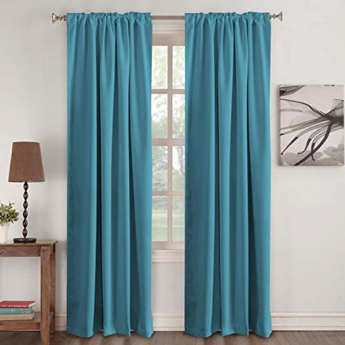 picture of Blackout Curtain Panels » (Teal Blue Color)- Rod Pocket Blackout Draperies