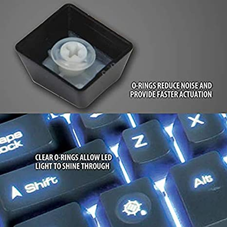 Red Rubber Keyboards O-Ring Switch Dampeners Keycap 200Pcs for Cherry MX Key Kit Dampers 40A-L-0.2mm Reduction