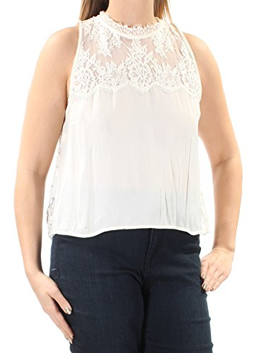 - Free People Womens Lace Fringe Crop Crop Top Ivory L