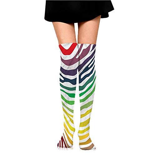 (Fashion Shiny Socks Zebra Print,Stripes Rainbow Colors,socks for toddler girls grips)
