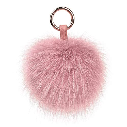 Genuine Fox Fur Pom Pom Keychain Bag Purse Charm Large Fluffy Fur Ball Keychains Pale Mauve