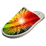 Slippers with Cool Rainbow Shoot 3D Print Indoor Sandals Comfy Shoes Flat Winter Sleeppers 9 B(M) US
