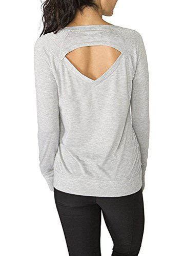 Mippo Women's Stylish Loose Open Back T-shirt Long Sleeve Basic Tee Loose Stretchy Knitted Comfort Backless Yoga Tank Top Girls Tee Gray L