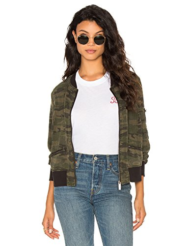 Blooming Jelly Women's Casual Camouflage Print Zip Up Lightweight Camo Short Bomber Jacket Coat (S, Green)