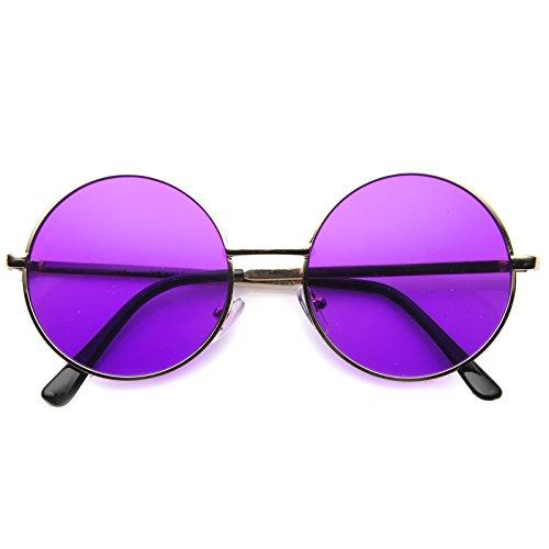 zeroUV - Retro Slim Full Metal Frame Colored Mirror Lens Round Sunglasses 51mm (Gold / - Sunglasses Colored Lenses