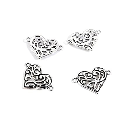 10 PCS Antique Ancient Silver Tone Jewelry Making Charms Findings Jewellery Charms Supplies for Necklace Bracelet Y4UX2 Heart - Heart Charm Jewelry Finding