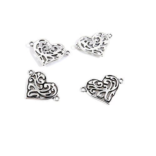 10 PCS Antique Ancient Silver Tone Jewelry Making Charms Findings Jewellery Charms (Heart Bracelet Connector)