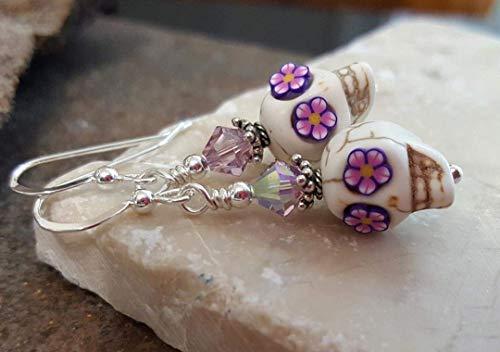 (Sugar Skull Halloween Earrings Sterling Silver White with Violet Flower Eyes)