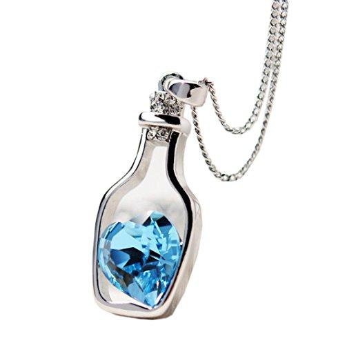 Siviki New Women Ladies Fashion Popular Crystal Necklace Love Drift Bottles (Blue)
