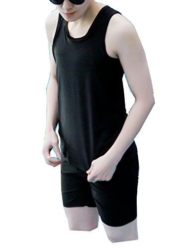 Super Flat Les Lesbian Compression Elastic Band Chest Binder Swimsuit Tank Trunk (Medium, Black) (Best Swimsuit For Flat Chest)