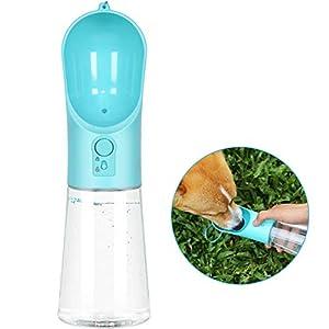 UPSKY Dog Water Bottle Portable Pet Water Bottle Leak Proof Dog Water Dispenser, Lightweight Dog Travel Water Bottle Bowl for Walking BPA Free 14 OZ (Blue)