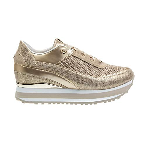 (Apepazza Shoes Woman Low Sneakers with Internal Wedge RSD27 / GLITTERNET Robin Gold Size 40 Gold )