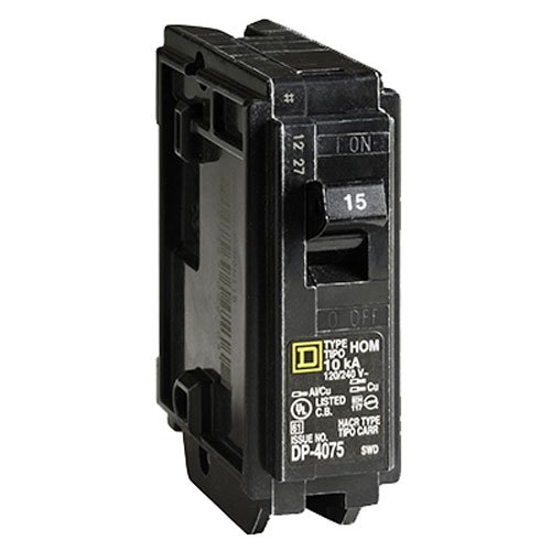 SQUARE D BY SCHNEIDER ELECTRIC HOM115C SP Circuit Breaker, 15 Amp