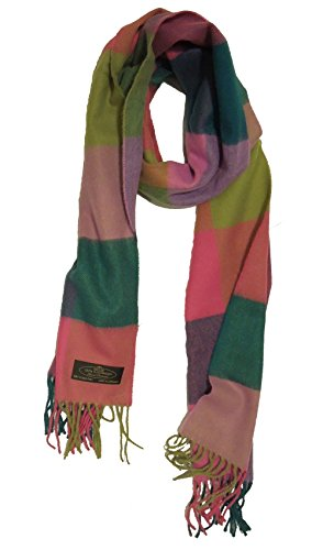 100% Cashmere Scarf, Pastel Rainbow Checkered