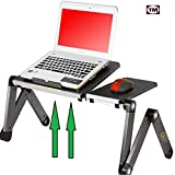 Desk York Large Portable Table for Computer - Adjustable Light Stand for Laptop - Ergonomic Recliner Bed Lap Tray - Vented w/CPU Fans - Mouse Pad and USB Cord -Up to 17'' (Black)