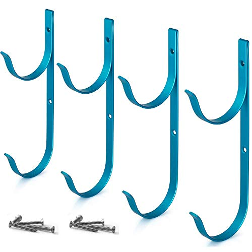 Aquatix Pro Pool Pole Hanger Premium 4pc Blue Aluminium Holder Set, Ideal Hooks for Telescopic Poles, Skimmers, Leaf Rakes, Nets, Brushes, Vacuum Hose, Garden Tools and Swimming Pool Accessories