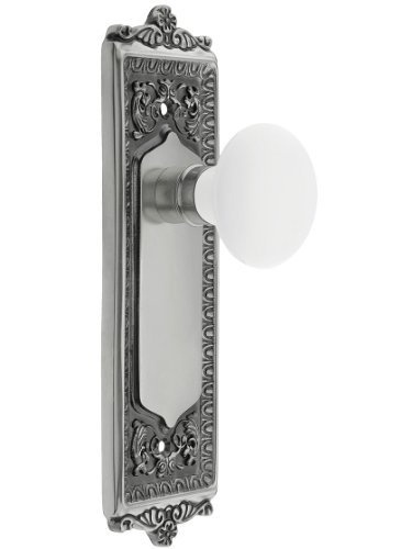 Nostalgic Warehouse 701984 Egg & Dart Plate Door Set with White Porcelain Door Knobs Single Dummy in Antique Brass