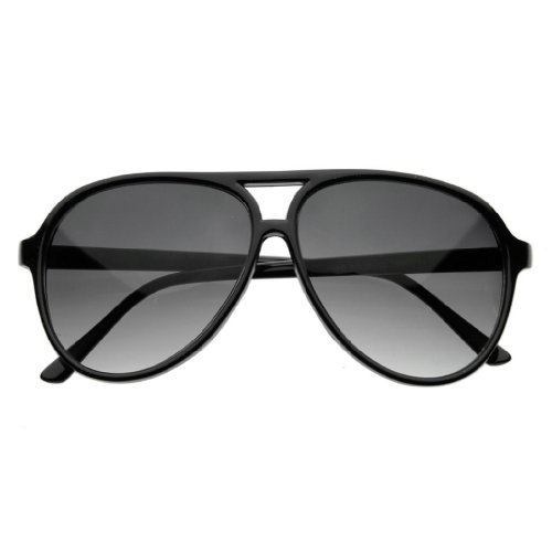 Zoom Classic Sunglasses Plastic Aviator Tear Drop Shape with Double Brow, Black Frames/Smoke Lenses, Large