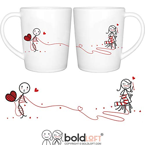 (BOLDLOFT Love Ties Us Together His and Hers Coffee Mugs- Couples Coffee Mugs for Anniversary, Wedding Anniversary, Valentine's Day, Christmas, His and Hers Gifts for Boyfriend Girlfriend Husband Wife)