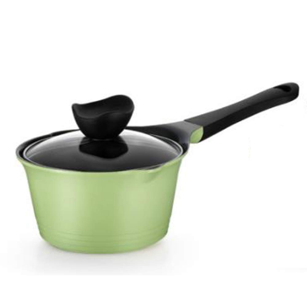 XMM Mini Milk Pan, Milk Pot with Lid Non-Stick Ceramic Coating Thickened Double Bottom Mouth Milk Pot 18Cm, for Induction Cooker General,Green
