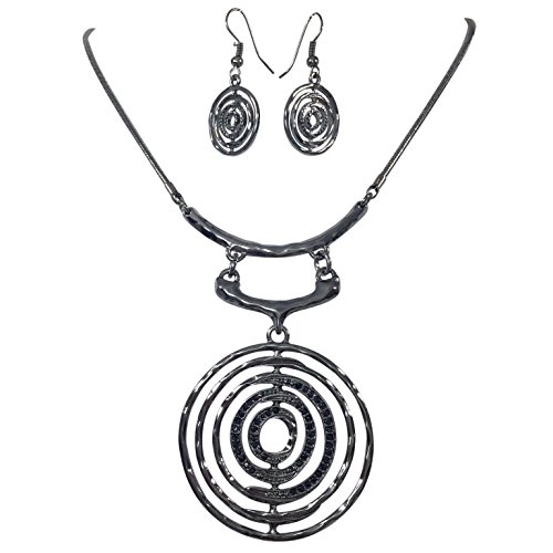 al Tone Geometric Shapes Black Rhinestones Boutique Statement Necklace & Earring Set - Assorted Shapes (Circle) ()