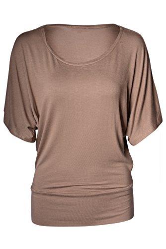 Boatneck Dolman Sleeve - Women's Boatneck Dolman Sleeve Draped Tunic Top (Mocha, Small)