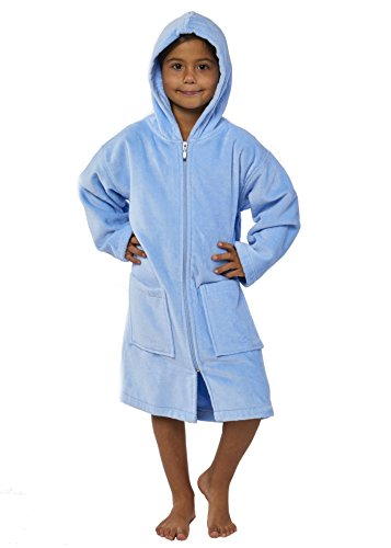 TurkishTowels Parador Kids Terry Velour Beach Bathrobe with Zipper (Ages 7-11, Baby Blue)