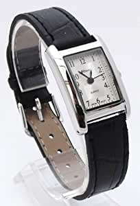Ravel R0121.02.2 - Reloj de pulsera para mujer (caja rectangular, correa de 14 - 18 cm), color negro y blanco