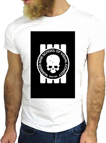 T SHIRT JODE Z1462 NUMBER NINE SCHOOL VISUAL COMEDY SKULL FUN COOL FASHION GGG24 BIANCA - WHITE M