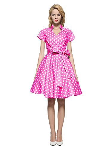 - Maggie Tang 50s 60s Vintage Short Sleeves Rockabilly Party Dress Hot Pink 2XL
