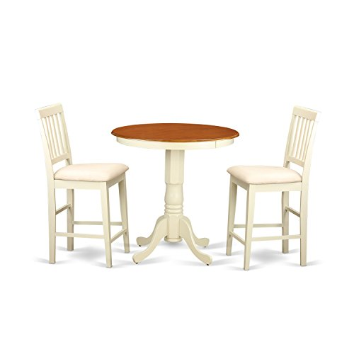 East West Furniture EDVN3-WHI-C 3 Piece High Top Table and 2