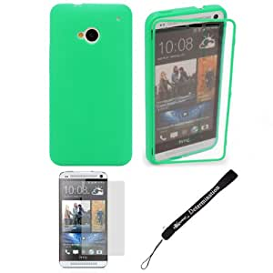 """Teal TPU Skin Cover Case With Built in Screen Protector For HTC ONE M7 4.7-inch Super LCD 3 (NEWEST 2013 VERSION) + Anti Glare Screen Protector Guard + an eBigValue â""""¢ Determination Hand Strap"""