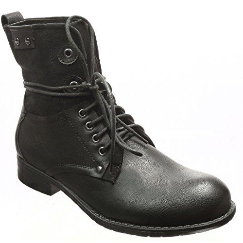 Angkorly Zapatillas de Moda Botines Botines Moda botas militares mujer cordones 08d917