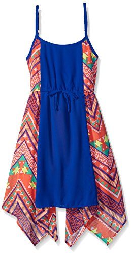 My Michelle Big Girls' Printed Dress with Solid Front Panel and Sharkbit Hem and Drawstring at Waist, Coral, 10 (My Michelle Clothes)