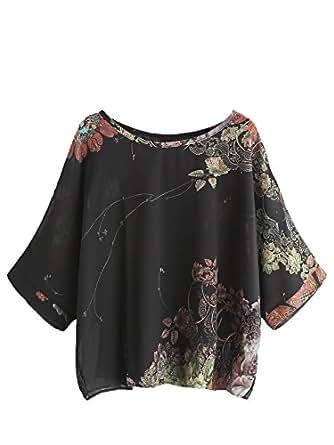 Milumia Women's Florals Batwing Sleeve Button Back Chiffon Blouse Medium Black