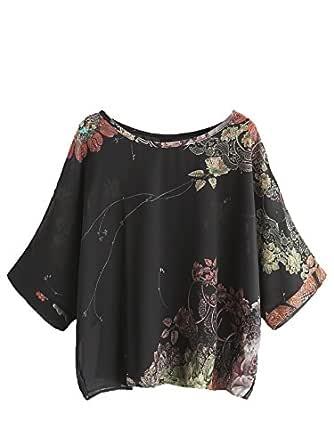 Milumia Women's Florals Batwing Sleeve Button Back Chiffon Blouse XX-Large Black