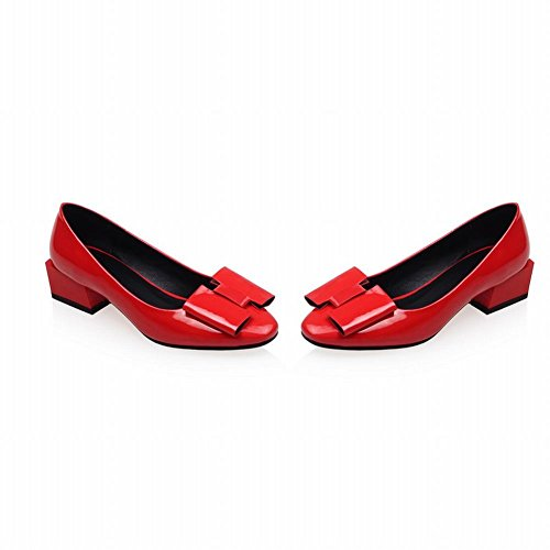 Carolbar Womens Bows Patent Leather Fashion Charms Elegance Mid Heel Pumps Shoes Red s6Xshe0