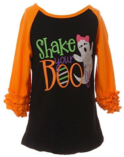 Dreamer P Little Girls' Ruffle Sleeve Raglan Shake Your Botty Halloween Party T-Shirt Top Orange 4 M (P201361P)