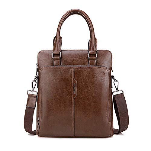 Fhgj Bags brown Khaki Cowhide Brown Men's Briefcase Zipper Black arFaTw
