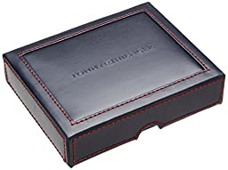 Tommy Hilfiger Men\'s Leather Cambridge Trifold Wallet, Black, One Size