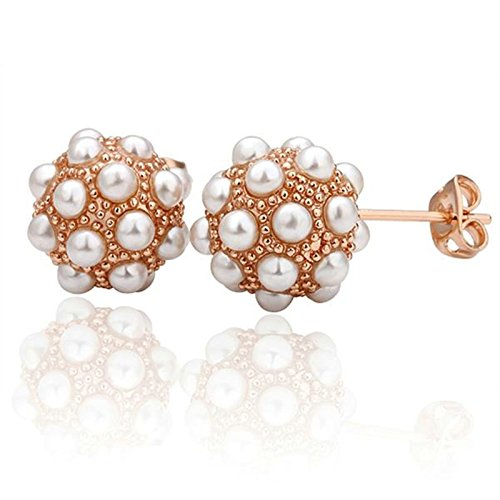 AmDxD Jewelry Rose Gold Plated Stud Earrings for Women Cluster Beads Faux Pearl 12X12MM
