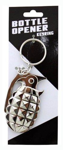 Island Dogs Grenade Bottle Opener Keychain, Silver