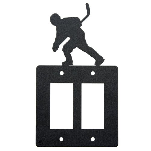 Hockey double rocker (GFI) light switch plate cover by Innovative Fabricators, Inc