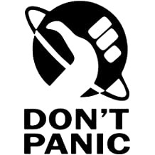 Don't panic logo Waterproof Vinyl Decal Stickers (Set of 2) for MacBook - Laptop - Phone - Helmet - Car Window Bumper - Mug - Cup - Door - Wall - Home Decoration - BLACK